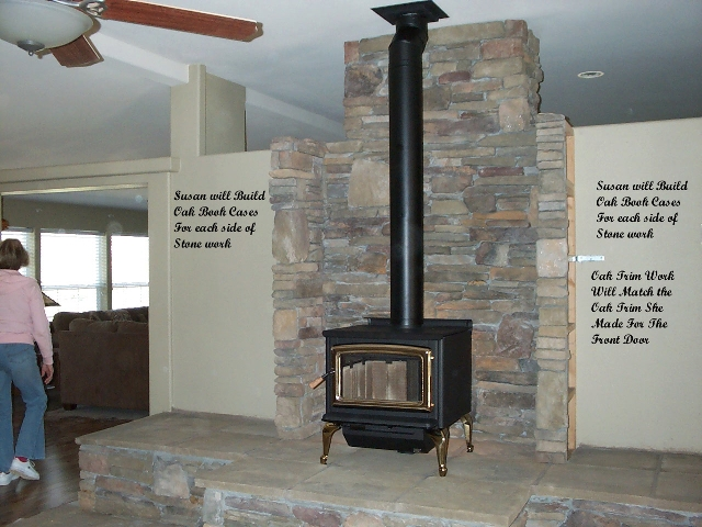 Susan Builds Stone Hearth